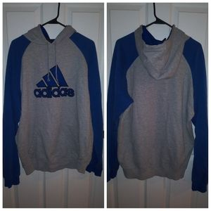Adidas hooded sweatshirt blue and gray  / size xl